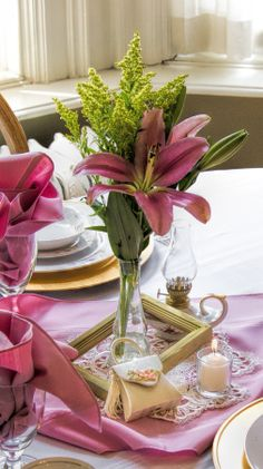 Pink Lily Tablescape for Tea