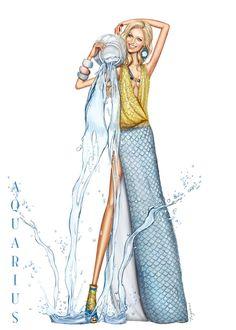 Aquarius - A stunning birthday card for the girl born between Jan 21 & Feb 20th.
