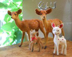 Felt Flocked Deer Family Mismatched Figurines Christmas Decor Woodland Buck Doe Fawn