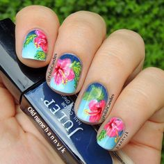 50 Gorgeous Summer Nail Designs You Need To Try - Flower Nail Designs, Best Nail Art Designs, Nail Designs Spring, Floral Designs, Tropical Nail Designs, Spring Nails, Summer Nails, Fall Nails, Cute Nails