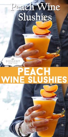 Peach wine slushies, made with just two ingredients in the blender. So easy, and. - Peach wine slushies, made with just two ingredients in the blender. So easy, and perfect for your 4 - Peach Wine, Peach Drinks, Summer Drinks, Peach Alcohol Drinks, Malibu Rum Drinks, Party Drinks, Cocktail Drinks, Beach Cocktails, Fruity Cocktails