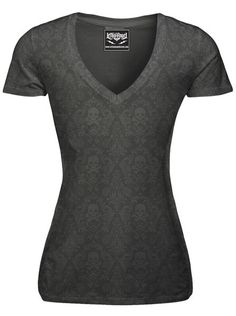 "Women's ""Classic Skull"" Burnout Tee by Lethal Angel (Grey)"