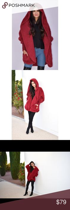 Nordic Beach Fluffy Jacket (Red) The comfiest, warmest, and highly fashionable jacket to own and wear. You can order yours 100% brand new with tags. Wearing a jacket as soft as a blanket has never been so fashionable and cozy! ***One size fits all Purchase our Red Velvet Color from our latest Fall Collection including Blue, and Baby Pink. ***SOLD OUT of Nude, Black, and Grey*** Comment color of choice when purchased. Nordic Beach Jackets & Coats