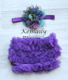 Purple Peacock Flower Satin Headband and Matching Purple Chiffon Ruffle Bloomers Set From Kemaily Boutique $18
