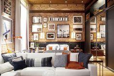 0Masculino, neste quarto se encontram os tons cinza, azul, marrom e laranja, que estampam sofá, cama, almofadas e objetos.