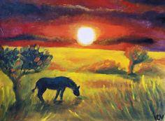 Sunset in Savannah Landscape Acrylics Painting