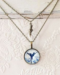 This is a very feminine layered ballet necklace! It is the perfect gift for your little swan and would also make a great gift for her ballet Ballerina Slippers, Dance Recital, Ballet Girls, Kids Jewelry, Organza Gift Bags, Swan, Antique Jewelry, Birthday Ideas, Gifts For Her