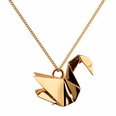 Swan Necklace Gold | Origami Jewellery | Wolf & Badger