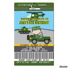 Army Camo Birthday Invitations w/Lanyard