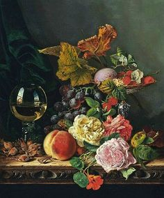 Edward Ladell Still Life with Flowers and Fruit 19th century Via: Still life quick heart