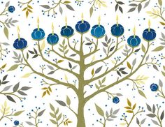 Commemorate the Festival of Lights in style by sending loved ones notecards that shine. The Chanukah Tree of Lights Embellished Notecards depict a floral menorah tastefully ornamented with gold foil, kindled to remember the past and appreciate the present Hanukkah Cards, Hanukkah Decorations, Hanukkah Menorah, Hannukah, Happy Hanukkah, Hanukkah Lights, Jewish Hanukkah, Crochet Game, Arte Judaica