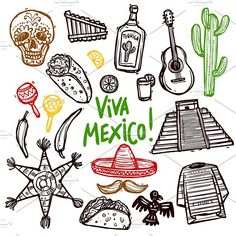 Buy Mexico Doodle Set by macrovector on GraphicRiver. Mexico doodle icons set with hand drawn food and culture symbols isolated vector illustration. Editable EPS and Rende. Free Poster, Mexico Tattoo, Free Doodles, Tequila, Dog Treat Jar, Folk Art Flowers, Mexico Culture, Mexico Art, Doodle Icon