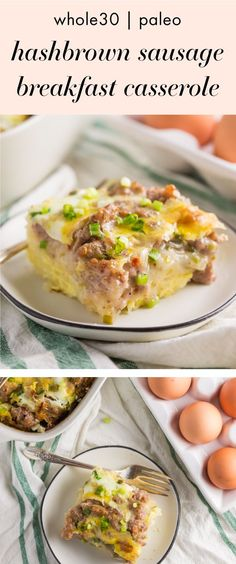 This Whole30 hashbrown and sausage breakfast casserole is healthy Christmas morning breakfast recipe and a perfect Whole30 breakfast recipe.