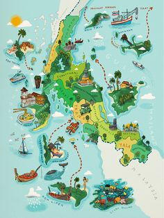 """A Map Illustration for the tourist pocket book """"A TWIST OF THAILAND"""" own by Oriental-Escapes.comWhitch the cover illustration and Two big map of the north-eastern and the southern sea of thailand"""