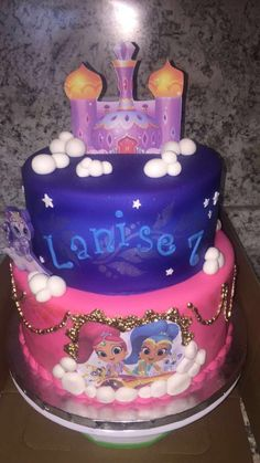 Our Shimmer and Shine Completely Edible Cake!!!