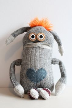 Brunton The Sock Monster by belua Softies, Monster Dolls, Felt Monster, Softie Pattern, Sock Animals, Clay Animals, Ugly Dolls, Sock Crafts, Sock Toys
