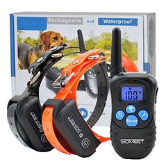 Someet Waterproof 330 Yards Remote 2 Dog Training Collars  Beep  Vibration  Shock Electric E Collar  Reduces Barking  Improves Behaviour For 2 Dogs ** Visit the image link more details.