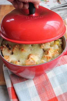 Leek and Artichoke Bread Pudding + A Le Creuset Giveaway! | Hip Foodie Mom | #lecreuset #giveaway
