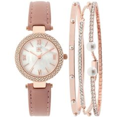 Inc International Concepts Women's May Blush Leather Strap Watch and... (1,965 DOP) ❤ liked on Polyvore featuring jewelry, watches, rose gold, bangle bracelet watch, bracelet watch, bangle watch bracelet, bangle set and rose gold tone watches