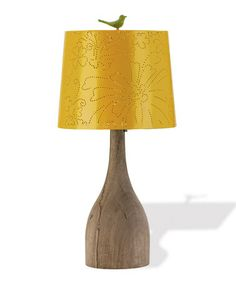 {Vintage Yellow Floral Punch Card Lamp by Foreside}
