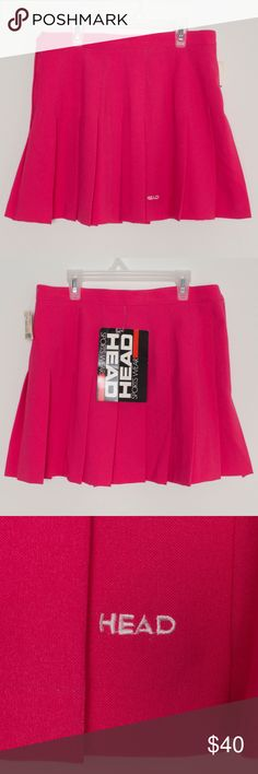Vintage Head Tennis Skirt Pleated Pink Size 14 NWT