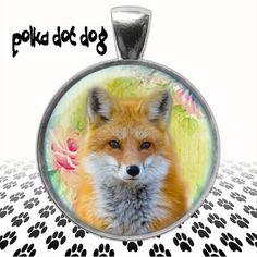 Fox Trot  Fox Large Glass-Covered Pendant by Polkadotdog on Etsy