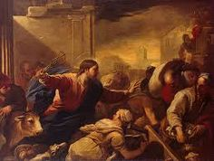 """November 9th - John 2:13-22: Since the Passover of the Jews was near, Jesus went up to Jerusalem. He found in the temple area those who sold oxen, sheep, and doves, as well as the money-changers seated there. He made a whip out of cords and drove them all out of the temple area, with the sheep and oxen, and spilled the coins of the money-changers and overturned their tables, and to those who sold doves he said, """"Take these out of here, and stop making my Father's house a marketplace."""""""