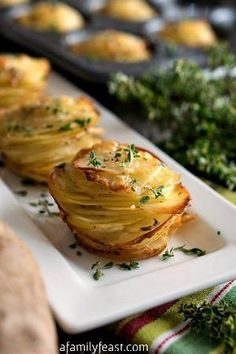 Asiago Potato Stacks - Super simple to make, these delicious potato stacks are the perfect, elegant side dish to any meal! by gale