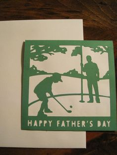 Handmade Square Golfing Father's Day Card by PaperGoodsByBecky, $1.99