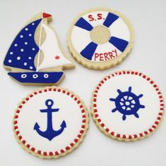 Nautical Birthday Parties One Dozen 12 Nautical Themed Decorated Cookies Anchor Baby Cookies, Baby Shower Cookies, Birthday Cookies, Iced Sugar Cookies, Royal Icing Cookies, Anchor Cookies, Cookie Decorating Icing, Single Cookie, Royal Icing Decorations