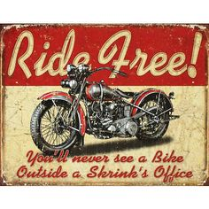 Vintage Motorcycle Signs | Ride Free Motorcycle Distressed Retro Vintage Tin Sign - 16x12.5