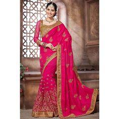 PINK CREPE SILK & NET SAREE Price - £107.00 #IndianDressesUK #FashionUK #OnlineShoppingUK #ShopkundUK