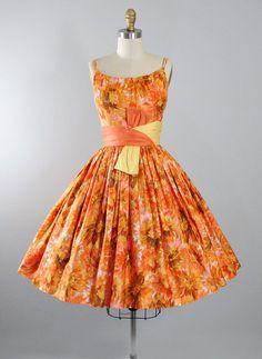 1950's Sunflower Print Dress