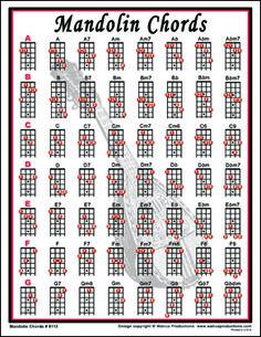 Easy Mandolin Chords | Mandolin Chords notebook size laminated chart for mandolin players.
