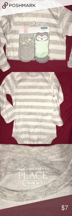 New Children's Place & Carters Children's Place Body Suit  Grey & White  Size / 12-18 months  This is brand New / bought with no tags / they just put in price   Carters Socks  4 pairs  Colors / mint , yellow,grey,& white  Size / 0-3 months  Brand New Children's Place Other