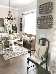 love this breakfast area........................ Agreeable Gray by Sherwin Williams is definitely one of my top favorite colors for Farmhouse Interiors.  Beautiful Homes of Instagram @ourvintagenest