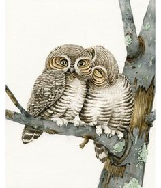 This cute watercolor design of Owl Smooches by TracyLizotteStudios.com is available at: http://tracylizottestudios.com/index.php/shop/prints/product/60-owl-smooches