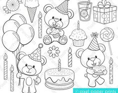 Woodland Animals Digital stamps Clipart por pixelpaperprints