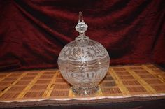 """Glass Crystal Lidded Candy Dish Jar Holder Bowl with Lid Vintage 10""""x6 1/2""""  #Unknown"""