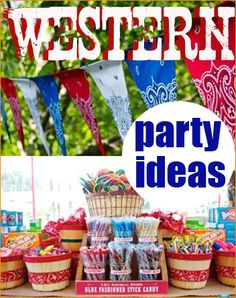 Cowboy/Cowgirl Party.  Check out these wild west ideas for your next hoedown.  So many great ideas for a kids birthday party or baby shower.  The party decor would make a great addition to a kids bedroom too.