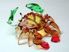 Handcrafted MINIATURE HAND BLOWN GLASS Brown Sea Crab FIGURINE Collection