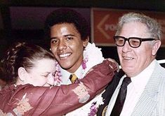 "Barack Obama with his maternal grandparents Stanley and Madelyn Dunham in 1979.OBAMA WROTE IN HIS MEMOIR THAT AT AGE 13 HE NO LONGER CONSIDERED THE WHITE IN HIM. IN FACT OBAMA SAID ""I CRINGE AT THE THOUGHT OF WHITES. I WILL SIDE WITH MUSLIMS FIRST."""