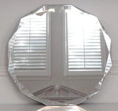 Antique Art Deco Round Deep Diamond Beveled Glass Mirror   eBay