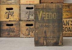 Vintage 1930s Wooden Veedol Motor Oil Crate.