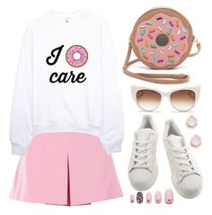 Crazy about donuts by deeyanago on Polyvore featuring polyvore fashion style Love Moschino adidas Patricia Chang Kate Spade Thierry Lasry Static Nails clothing WhatToWear donutsfashion