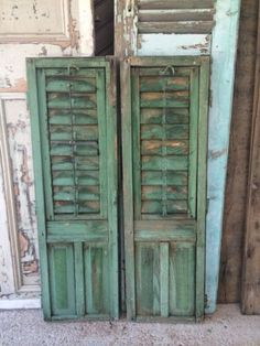 Pair-Of-Vintage-French-Rustic-Louvre-Shutters