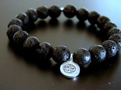 Mens OM Lava Rock Bracelet  Hilltribe Silver Om Aum by omdesigns, $34.00