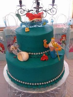 Lovely cake from a Mermaid Under the Sea Birthday Party! See more party ideas at CatchMyParty.com!