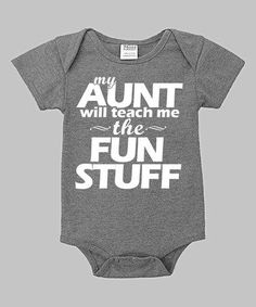 Take a look at this Urban Smalls Heather Blue 'My Aunt Will Teach Me' Bodysuit - Infant today! Aunt Shirts, Baby Shirts, Onesies, Aunt Onesie, Baby Boys, Baby Gap, Toddler Girls, Aunt Baby Clothes, Babies Clothes