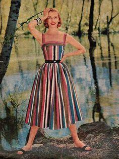 Striped Resort Wear 1956 Mary Blair for Cabana 1956